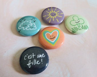 Magnets, It's a girl, iEs una nina, Bouche cousue, birth gift, heart, clover, clouds, sun, graphic  colors, poetry, stationery, fantasy art