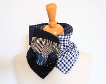 Cowl ,Bouche cousue, scarf, women, velvet, woman's accessory, made in Quebec, ecofriendly, Christmas gift, sports clothing, ginhgam