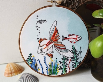 Fishes, Mural art, hoop, Bouche cousue, gift, home decor, sea, blue, decoration, embroidery, nature, fish, aquatic, turquoise, mural art