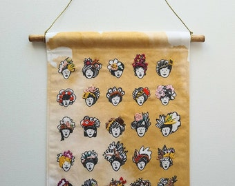 Mural embroidery, wall banner, embroidery banner, girls characters, handmade embroidery, art, collection, birthday gift, made in Québec