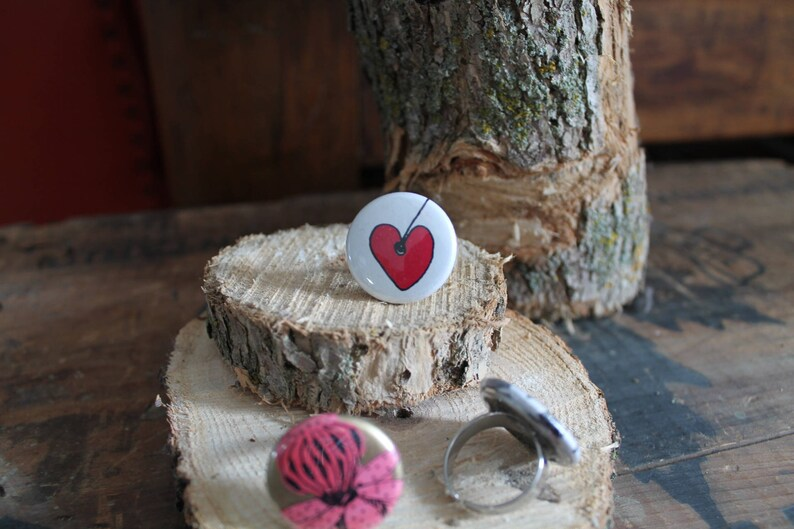 3 Rings pink Bouche cousue girl jewelry heart trio ring gift jewel collection flower art creation gift