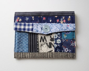 Pouch, Bouche cousue, gift ecofriendly, couture, navy blue, floral, boy, serigraphy, handmade, passport pouch, gingham, letters, fabrics