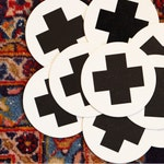 Swiss Cross Geometric Wedding Coasters Plus Sign Letterpress Coasters Black and White Coasters Hostess Gift Moroccan Cross Coaster Set