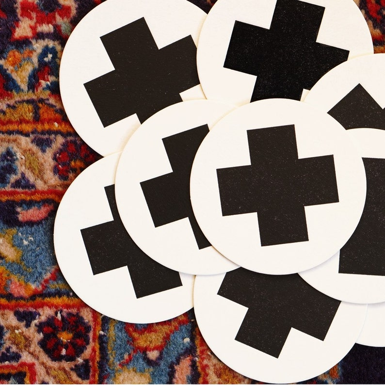 Swiss Cross Letterpress Coasters Hostess Gift Geometric image 0