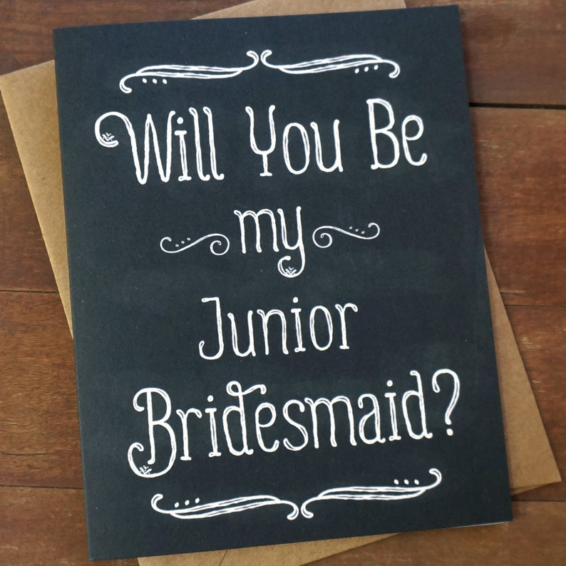 Will You Be My Junior Bridesmaid Card Wedding Party Card image 0