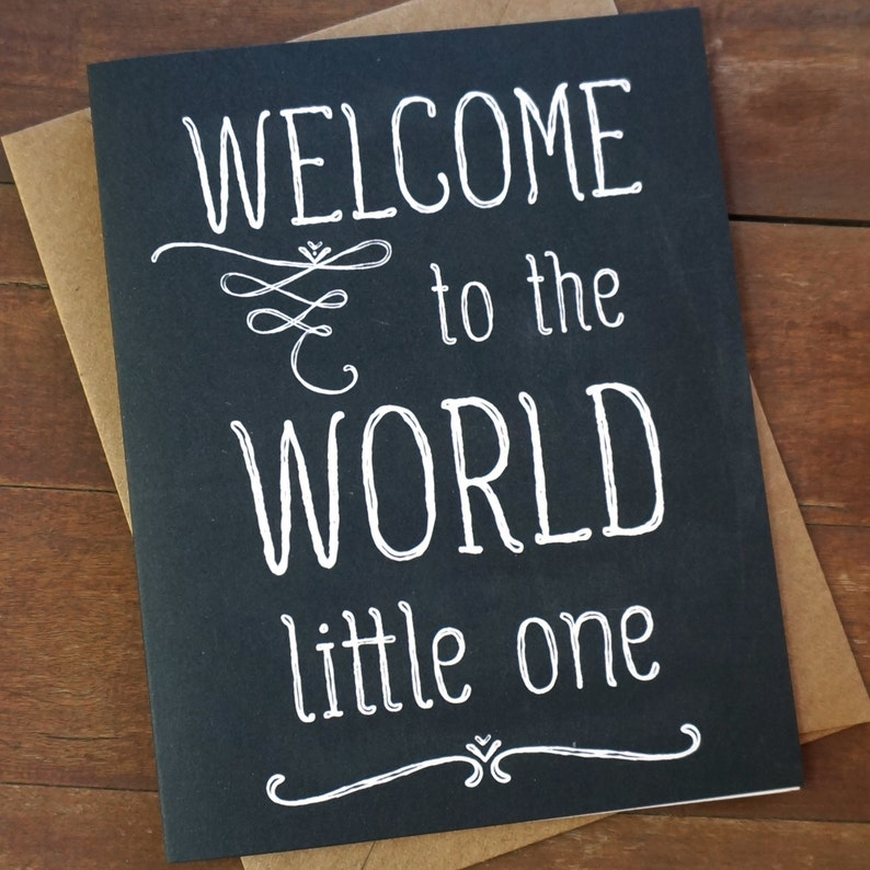 Welcome Baby Card  Welcome to the World Baby Shower Card  image 0