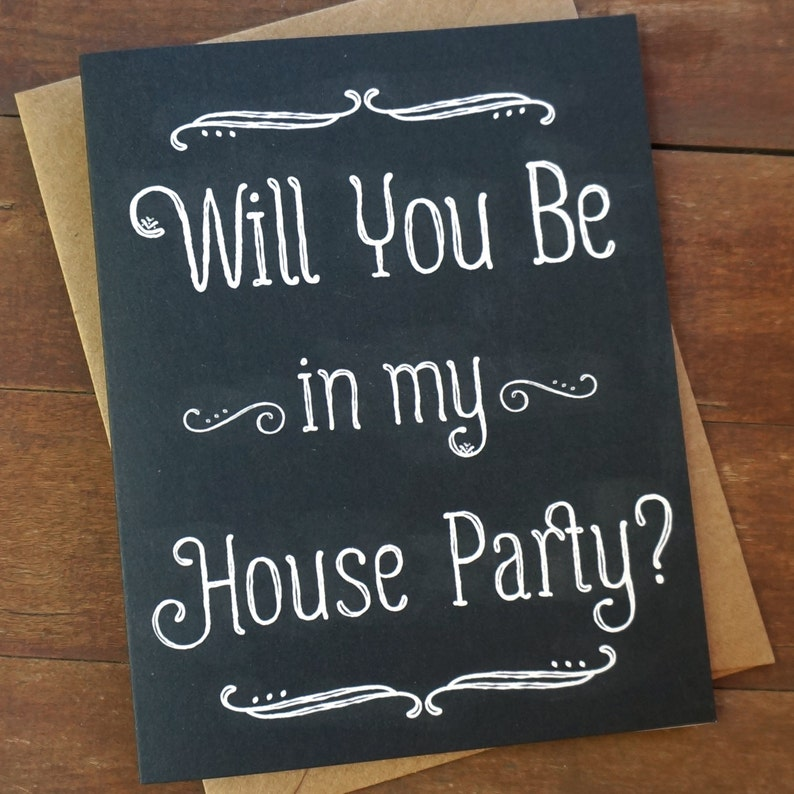 Will You Be in My House Party Card Wedding Party Card Stand By image 0
