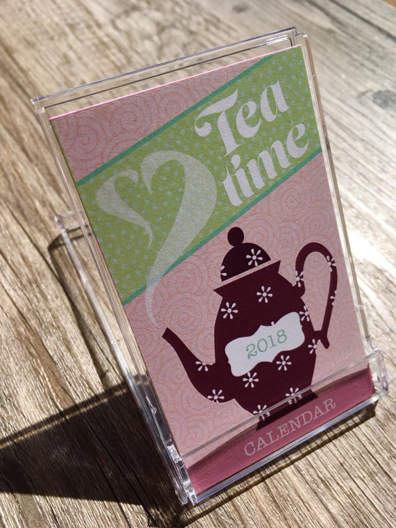 2019 tea time mini desk calendar note business card size etsy image 0 reheart Image collections