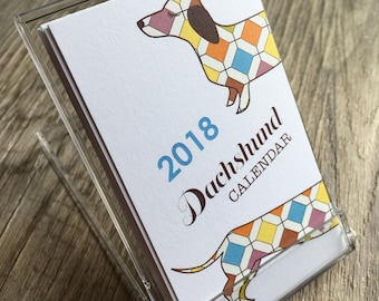 2018 Dachshund Mini Calendar - (Note: Business Card Size)