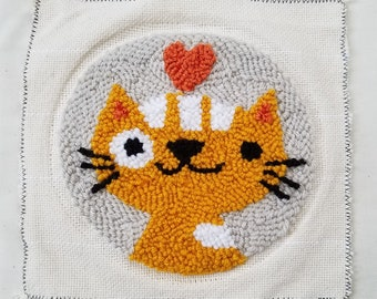 Cutie Cat Punch Needle Kit - Beginner Punch Needle Kit - Choose Your Color!