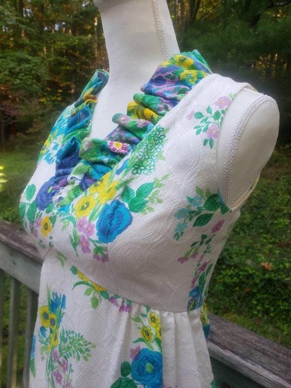 Vintage 60s Hippie Flower Child Maxi Dress