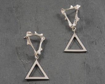 Sterling Silver Double Triangle Bone Earrings // cast bone jewelry // post earrings // gifts for her