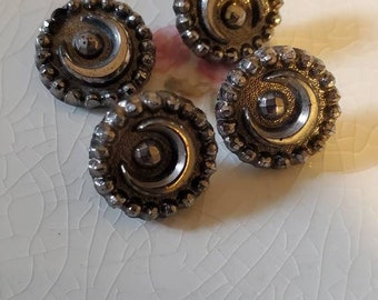 """FOUR (4) Antique, MOON, silver luster, Black Glass Buttons. Measure about 1/2"""" with Metal Shanks. Patent Dec 28 1880."""