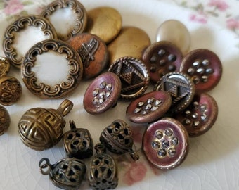 """Twenty Three (23) Small, Antique Metal Buttons. Measure about 3/4"""" and under. Cricket, Paris, and other."""