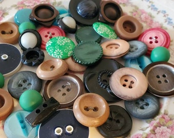 """Cottage Chic Buttons ... Browns Blues Greens ... Thirty Five (35) Vintage Buttons. Measure 7/8"""" and under."""