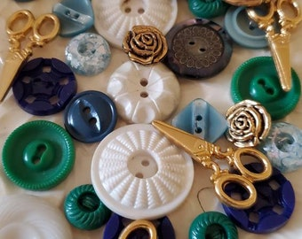 Cottage Chic Buttons ... Green Blue White Gold ... Thirty Five (35) Vintage Buttons.