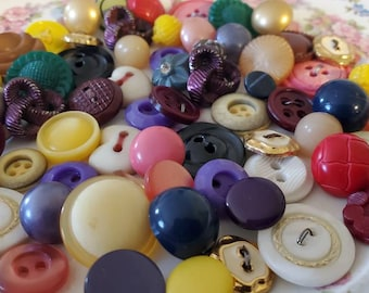 Vintage Buttons ... Yellow, Red, Purple ... Assortment Smalls, Fifty (50)