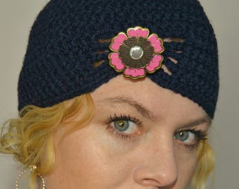Dark blue flapper hat with brooch of your choice! Crochet hats for women - crochet hats for girls