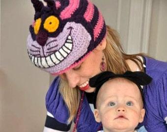 Crochet Cheshire Cat Hat - Alice in Wonderland Halloween costume - hats for men, hats for women - Comic Con hats