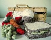 Crochet Play Food Set - crochet sandwich, fruit, vegetables, dessert - 15-piece set