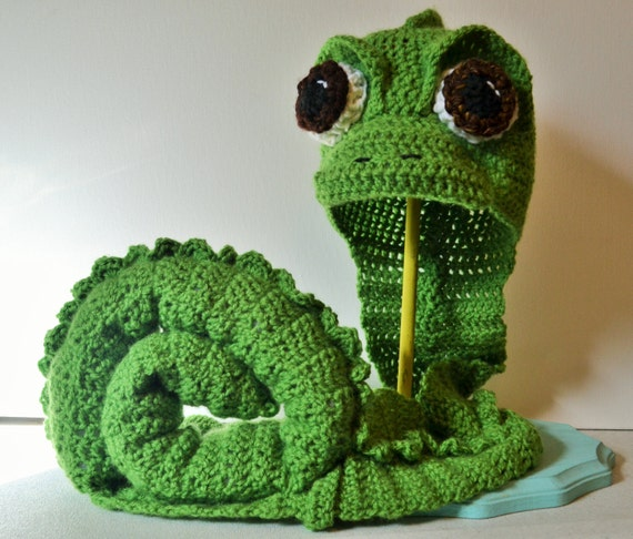 Crochet Pascal Costume Crochet Hat And Tail Set Tangled Etsy
