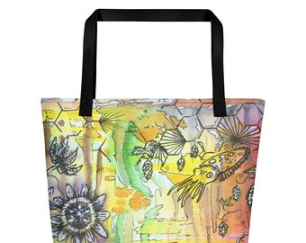 Passion flower Cuttle fish - Big Tote Bag