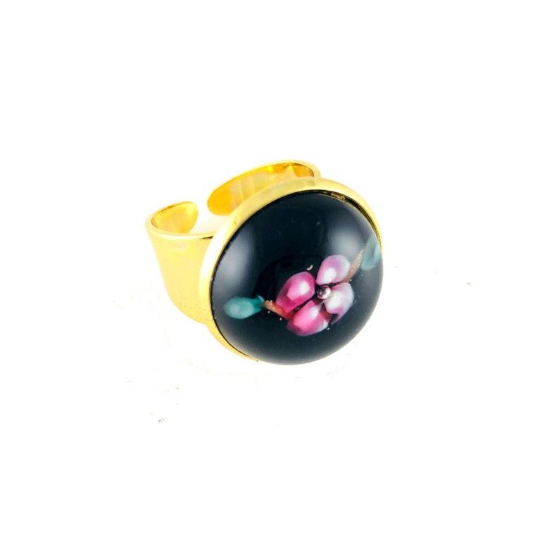 Azalea Black Pink Lucite Gold Ring