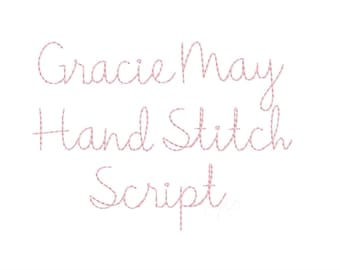 "1.5"" Gracie  Handstitch Script Machine Embroidery Font Hand Stitch Monogram Instant Download  BX PES"