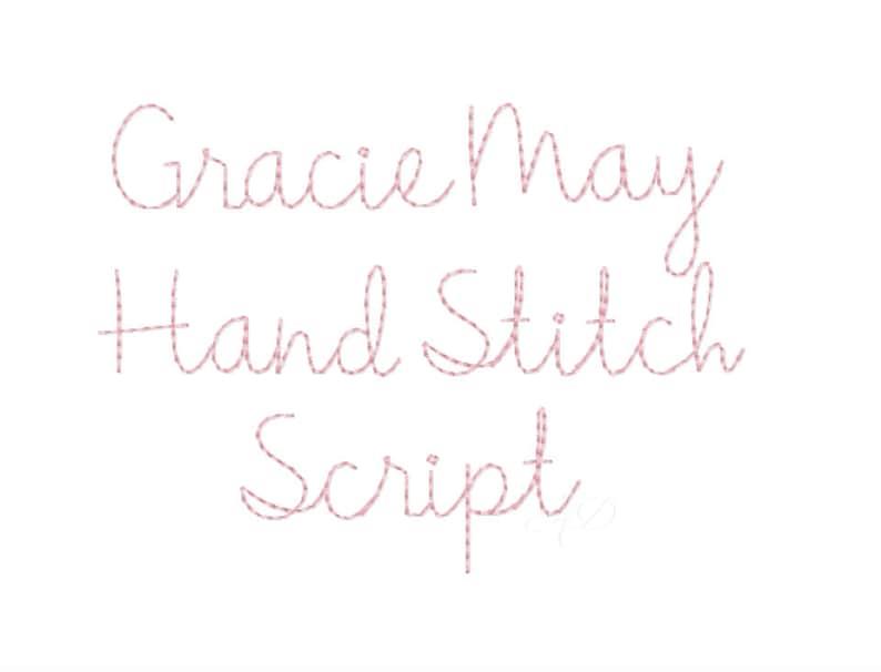 1.5 Gracie  Handstitch Script Machine Embroidery Font image 1
