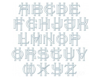 "26 Letter H 3.6"" Two Letter Type Outline Embroidery Monogram Formal Type Woven Interlocking Fonts Herrington Design 4x4 PES BX"