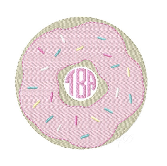 Donut Monogram Embroidery Design Machine Instant download Doughnut BX 4x4 5x7 6x10 BX PES