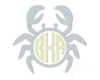 Preppy Crab Monogram Embroidery Frame Machine Embroidery Design Instant download BX 4x4 5x7 6x10