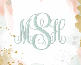 """4"""" and 5"""" inch Embroidery Fill Flat Stitch Classic Interlocking Monogram Embroidery Font Large 5x7 Hoop BX instant download"""