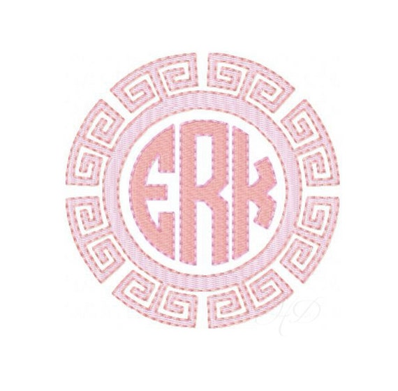 Greek Key Circle Embroidery Design Chinoiserie Chic Diamond Frame Square  Preppy Instant Download 4x4 5x7 6x10 BX PES Embroidery Font
