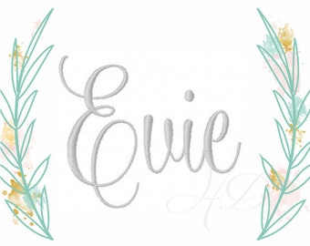 """3"""" inch Embroidery Font Satin Stitch Monogram Evie Formal Font BX 4x4 5x7 6x10 BX instant download PES All Formats"""