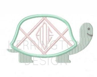 Preppy Turtle Applique Design Machine Embroidery Frame 4x4 5x7 6x10 instant download