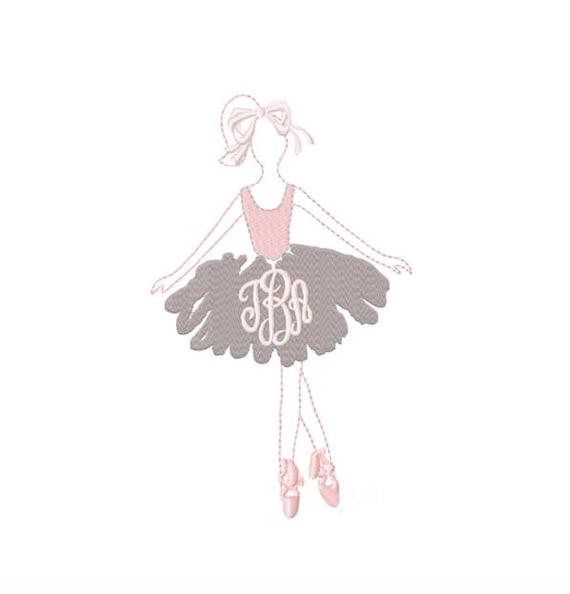 Ballerina Embroidery Design Monogram Ballet Dance Frame BX   Etsy