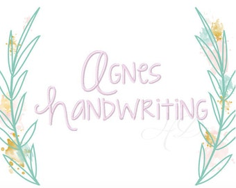 """3"""" inch Modern Handwriting Script Machine Embroidery Monogram Font KG Strawberry Limeade Instant Download Agnes  BX instant download"""