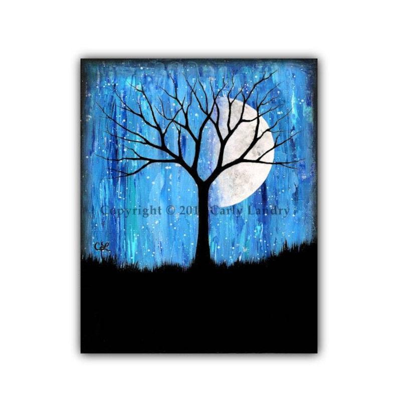 Phase II  Moon Phases & Tree Art Print Modern Artwork image 0