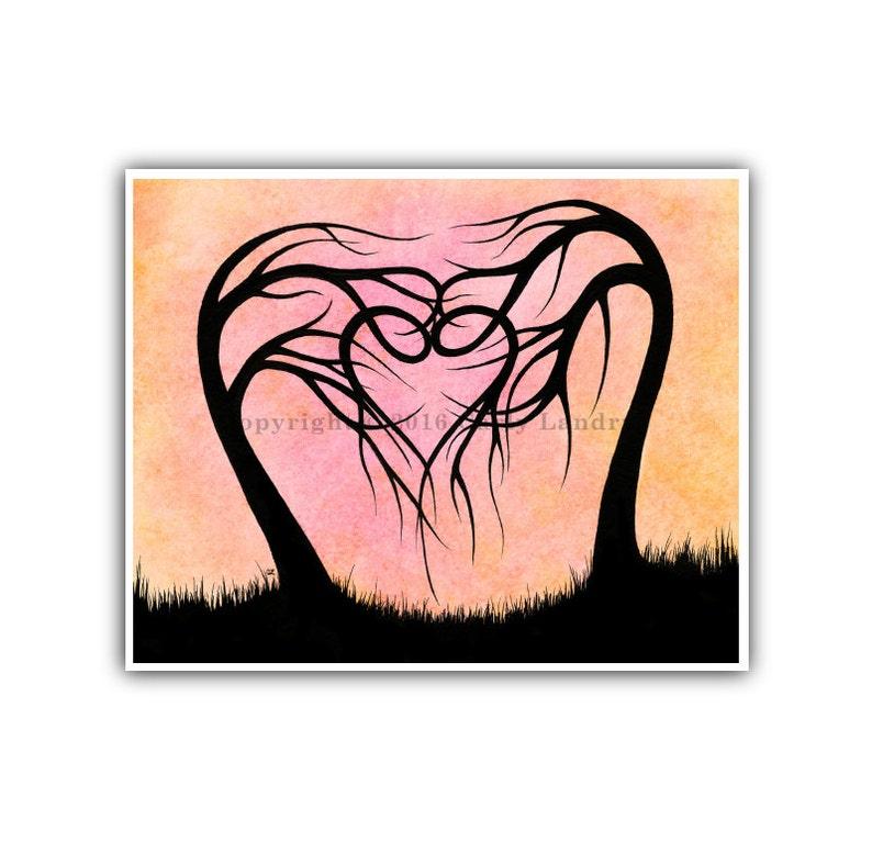 Everlasting Love  Heart Shaped Trees Art Print Modern Artwork image 0