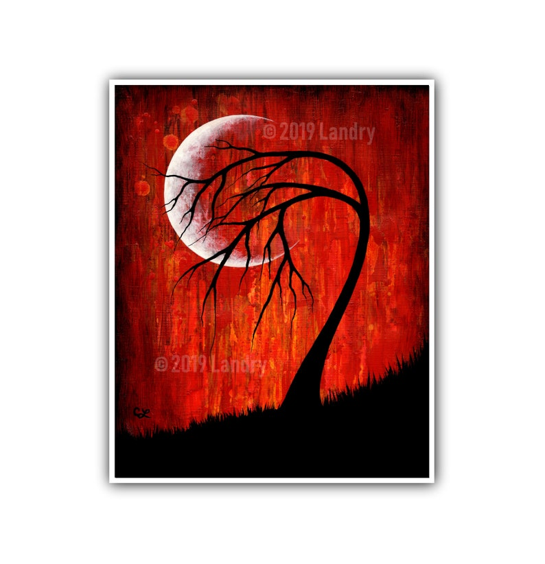 Phase VI Moon Tree Art Print Vibrant Red Modern Artwork 8x10 image 0