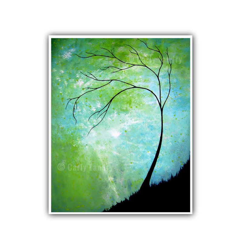 Pleasant Countenance  Tree & Abstract Green Turquoise Sky Art image 0