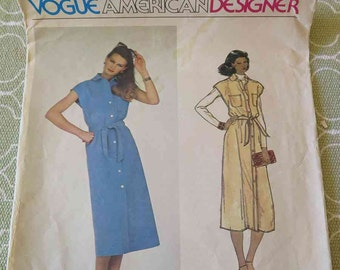 Vintage 70s Vogue 2096 American Designer Blassport Ltd Dress Jumper with Belt sewing Pattern size 12 B34