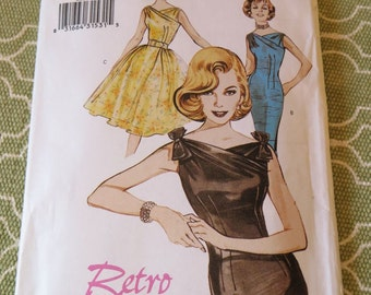 Butterick 6582 1960s Retro Style Fitted or Full Skirt Dress Sewing Pattern sz 18 20 22 UNCUT
