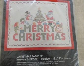 Vintage Bucilla Merry Christmas Embroidery Sampler Kit 48648