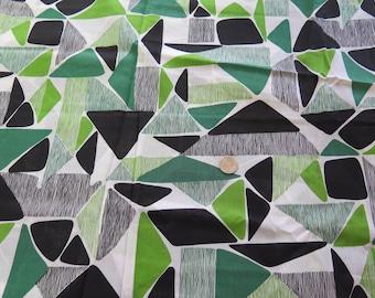 NOS Vintage Atomic Green Cotton Lawn Fabric Yardage w Label 3 plus Yards Japan