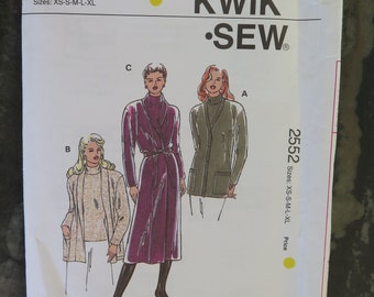 Vintage 90s KWIK Sew 2552 Misses Cardigan Sweater and Top Sewing Pattern XS - XL