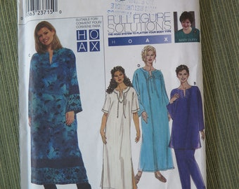 Simplicity 9071 Full Figure Solutions Sewing Pattern Womens Pants and Tunic or Dress size 18W to 24W UNCUT FF