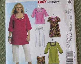 McCalls M5896 Womens Tops Dresses and Capri Pants Sewing Pattern UNCUT FF size 18W to 24W