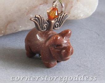 Goldstone Piglet Piggie Flying Pig Charm Pendant Zipper Pull